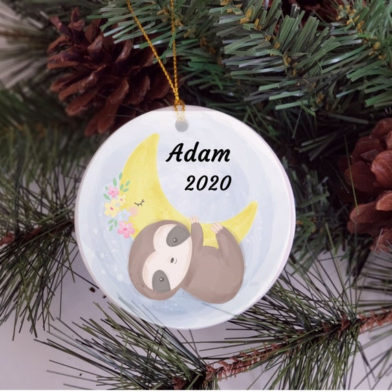 Sloth Ornament, Baby's First Christmas Ornament, Gift for New Born