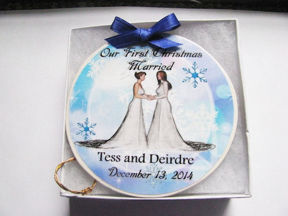 Lesbian Wedding Ornament - Christmas Ornament - Gay Ornament - Wedding Ornament - Wedding Gift - Christmas - Gay Wedding Gift - Gay Marriage