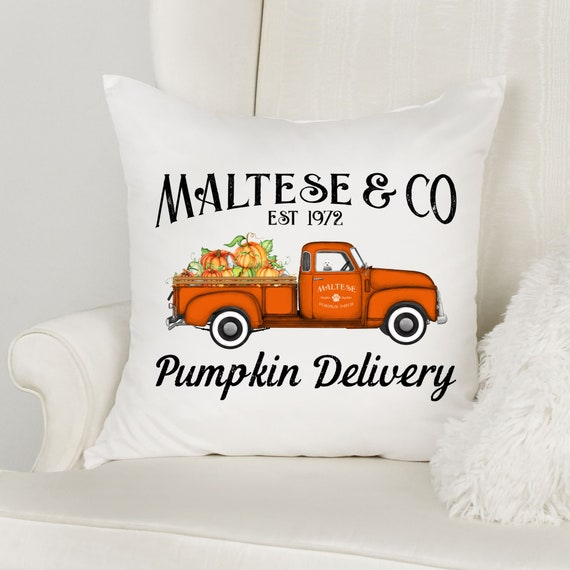 Fall Decor Pillow, Dog Breed Pillow, Fall Truck, Dog Lovers Gift