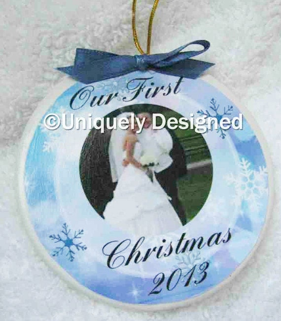 Wedding Gift Idea-- First Christmas married ornament - Christmas Ornament - Our First Christmas - Wedding Gift - Wedding Ornament -wedding