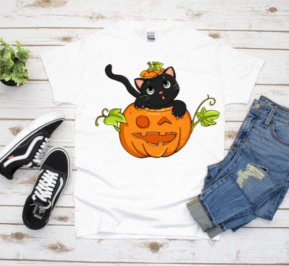 Halloween Cat Shirt, Halloween, Autumn, Girlfriend Gift