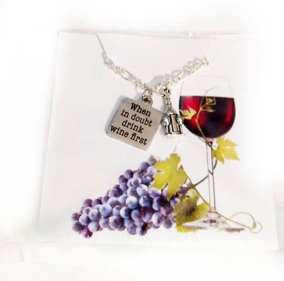 Wine Lovers Necklace Gift - Wine Lover Gift - Wine Necklace - Wine Jewelry - Wine Gift - Gift for her - Wine Glass necklace - charm necklace