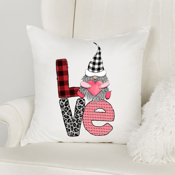 Gnome Valentine, Valentine Pillow Cover, Valentine Gift for Her