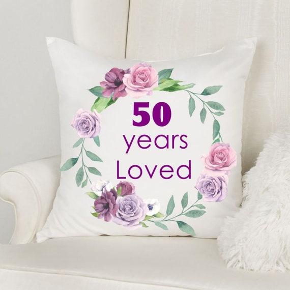 50th Birthday Gift for Mom, Throw Pillow, Birthday, Mom Gift