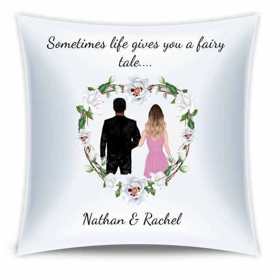 Wedding Pillow, Personalized Gift, Wedding, Interracial Couple, Gift for Couple