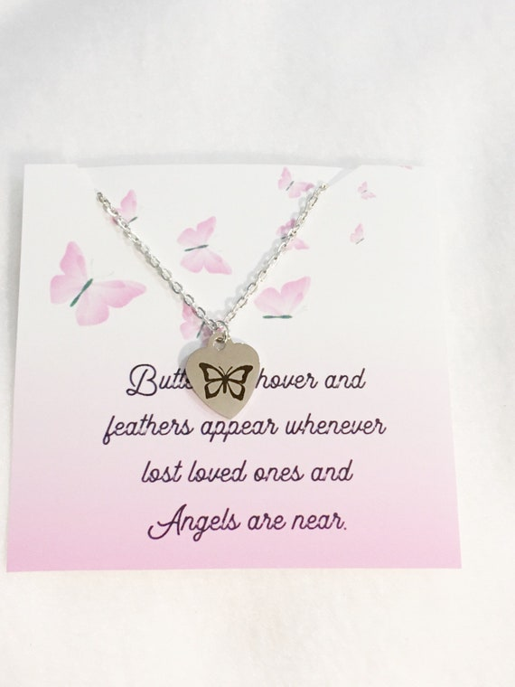 Memorial necklace loss of a loved one butterfly memorial