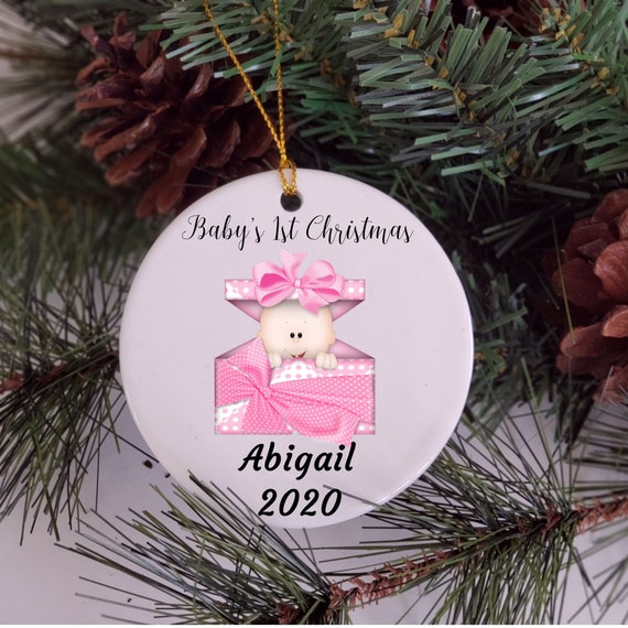 Baby First Christmas Ornament Personalized, Gift for New Baby