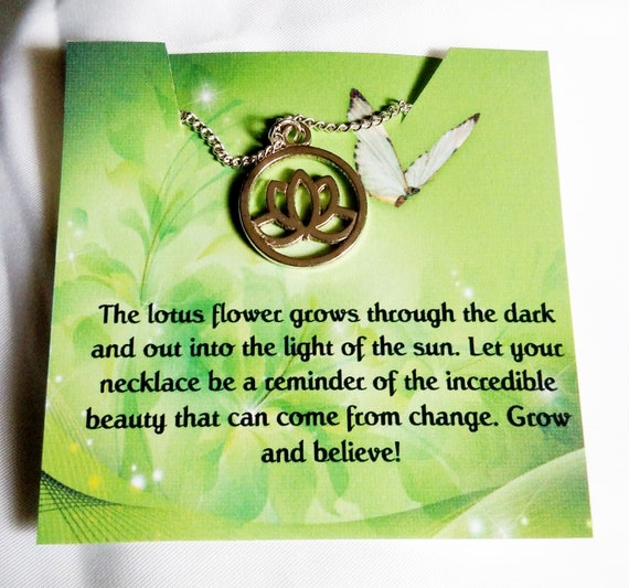 Gift for her - lotus jewelry - yoga jewelry - encouragement gift - inspirational gift - inspirational - motivational gift - jewelry gift