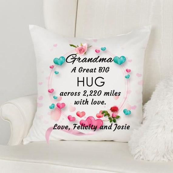 Personalized Grandma Hug Pillow Cover, Christmas, Long Distance Gift