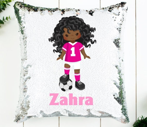 Personalized Soccer Sequin Pillow cover, Birthday, Gifts for Girls