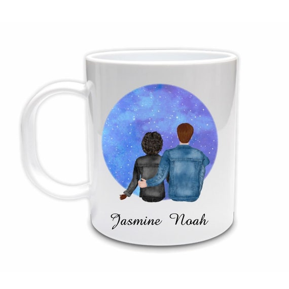 Couple Mug, Interracial Couple, Personalized Mug, Birthday, Gift for Wife