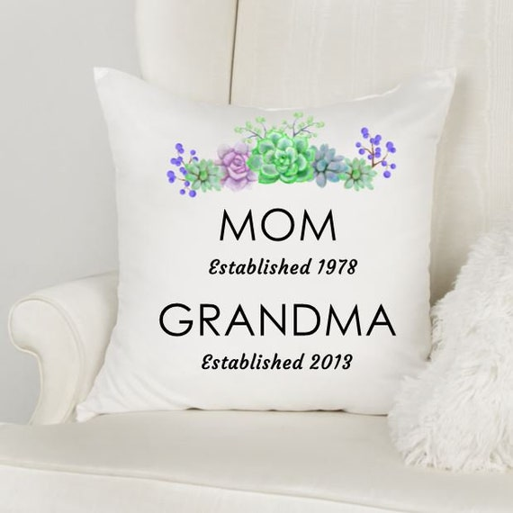 Personalized New Grandma Gift, Succulent Pillow Cover, Throw Pillow, Christmas, Gifts for Mom