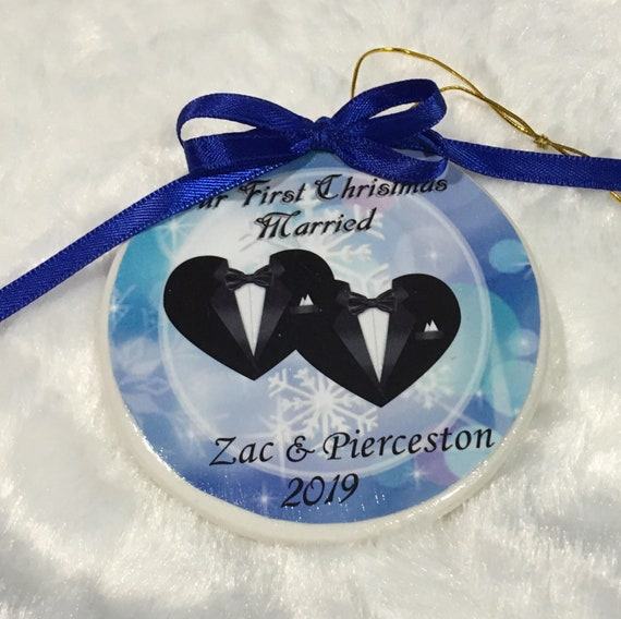 Personalized Gay Wedding Gift, Married Ornament, Wedding, Gift for Couple