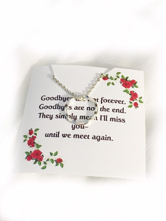 Goodbyes are not forever memorial jewelry necklace infinity circle