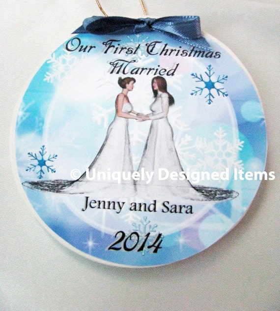 Personalized unique lesbian and gay wedding gift ornament