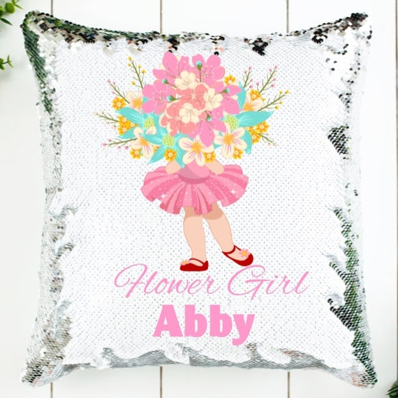 Flower Girl Gifts, Personalized Sequin Pillow Cover, Wedding, Gift for Girls
