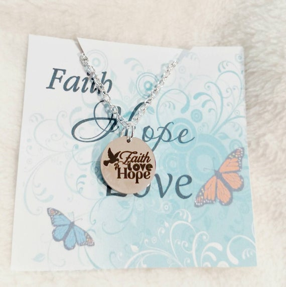 Hope necklace- Love necklace- Faith Hope Love- Confirmation necklace- Baptism necklace- Gift for her- Gift for daughter- Gift for Mom