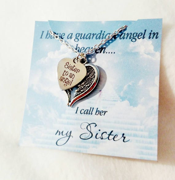 Sister of an angel- my sister my angel- memorial necklace-necklaces-remebrance jewelry-in memory of-sister-loss of sister-loss of loved one