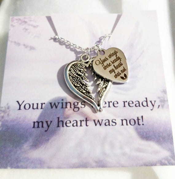 Your Wings Were Ready, My Heart Was Not Angel Wings Heart Memorial Necklace