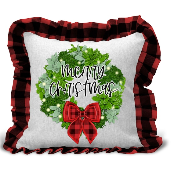 Christmas Decor, Succulent Gift, Throw Pillow, Christmas Gift for Coworker