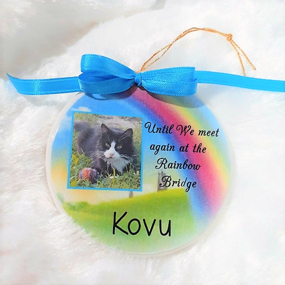 Pet Memorial Ornament, Rainbow Bridge, Christmas, Pet Lover Gift