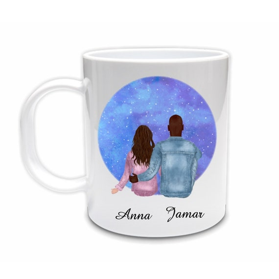 Personalized Mug for Girlfriend, Interracial Couple, Anniversary, Gift for Girlfriend