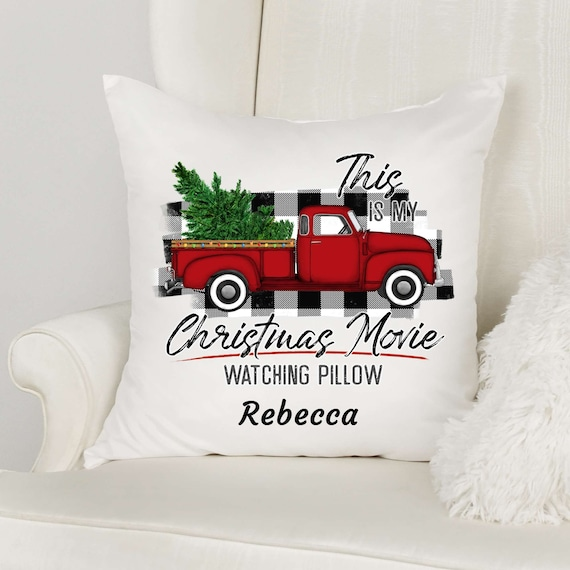 Christmas Movie Watching Pillow, Personalized, Christmas, Gift for Wife