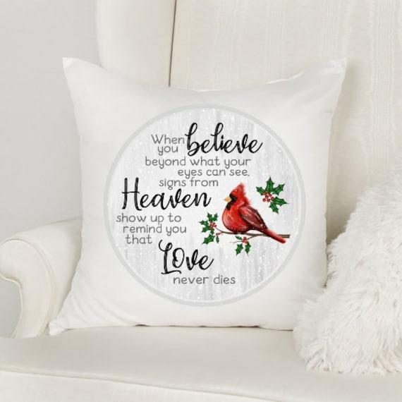 In Loving Memory, Memorial Pillow, Cardinal Memorial, Christmas, Gift for Loss of Mother
