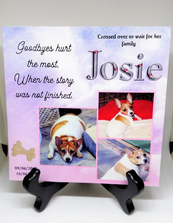 Personalized Pet Loss Gift - Rainbow Bridge Gift Plaque - Pet memorial gift-- Pet tilie keepsake---Rainbow Bridge pet tile