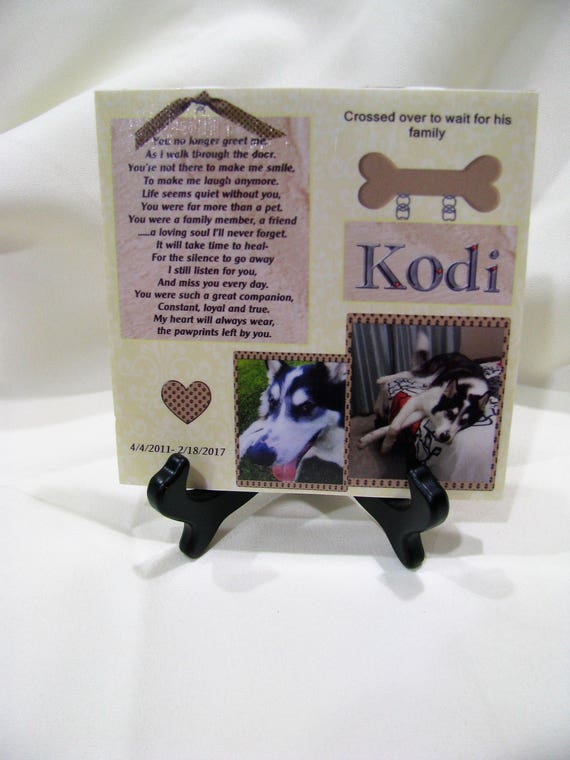 In Memory Dog Photo Memorial Keepsake Plaque