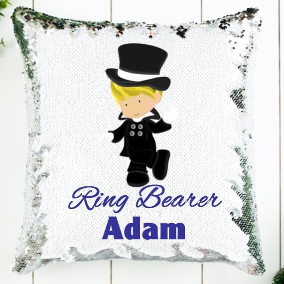 Ring Bearer Gift, Personalized Sequin Pillow, Wedding, Gift for Boy