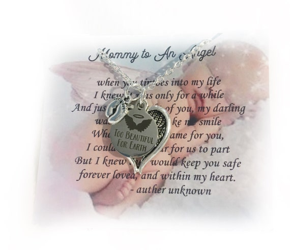 Too Beautiful for Earth Miscarriage Memorial Necklace