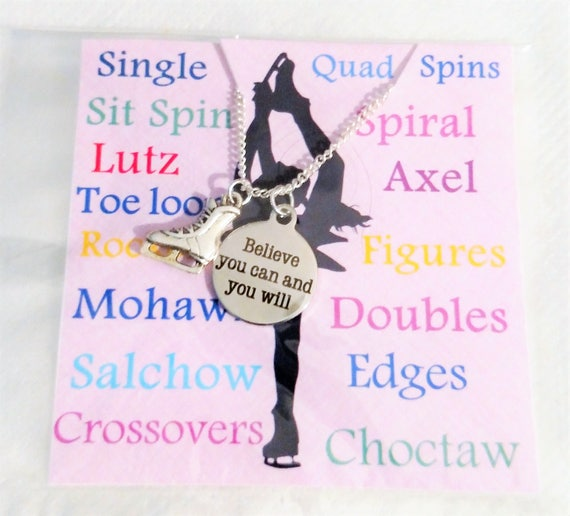 Figure Skating Ice skating necklace Ice skate necklace figure skater