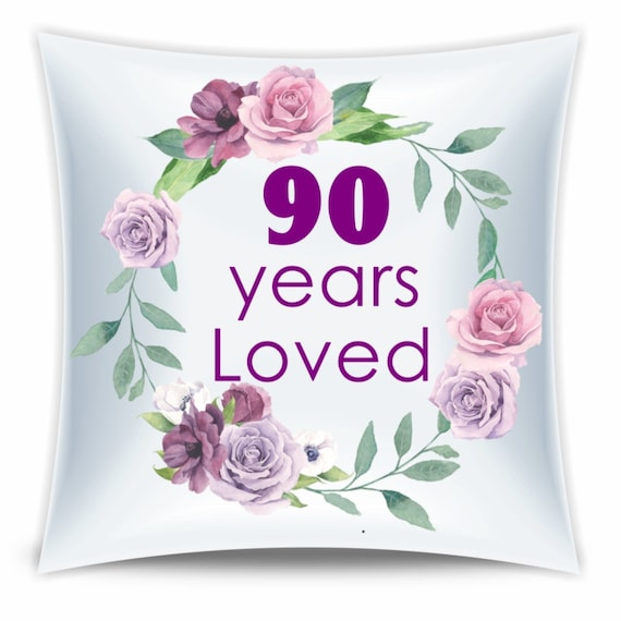 90th Birthday Gift, 90 Years Loved Throw Pillow, Birthday, Mom Gift