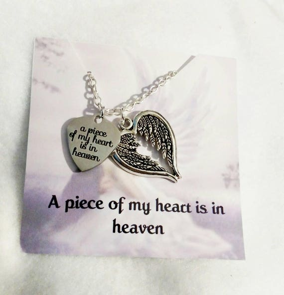 A Piece Of My Heart Is In Heaven Angel Wings Heart Remembrance Necklace