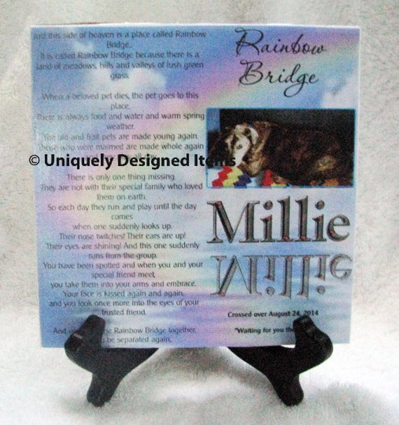 Pet memorial --Rainbow Bridge pet tile--- remember your furry friend- Pet Sympathy Gift- Pet Memorials- Pet Loss