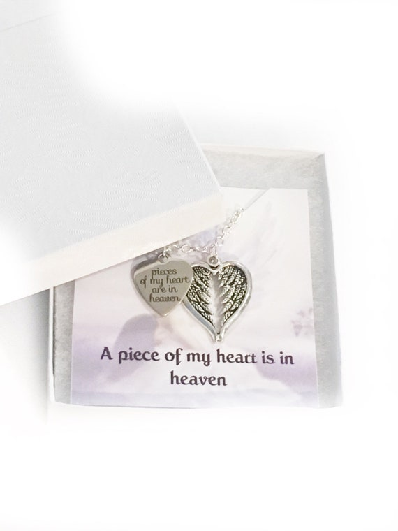A Piece Of My Heart Lives In Heaven Angel Wings Memorial Necklace Jewelry Sympathy gift