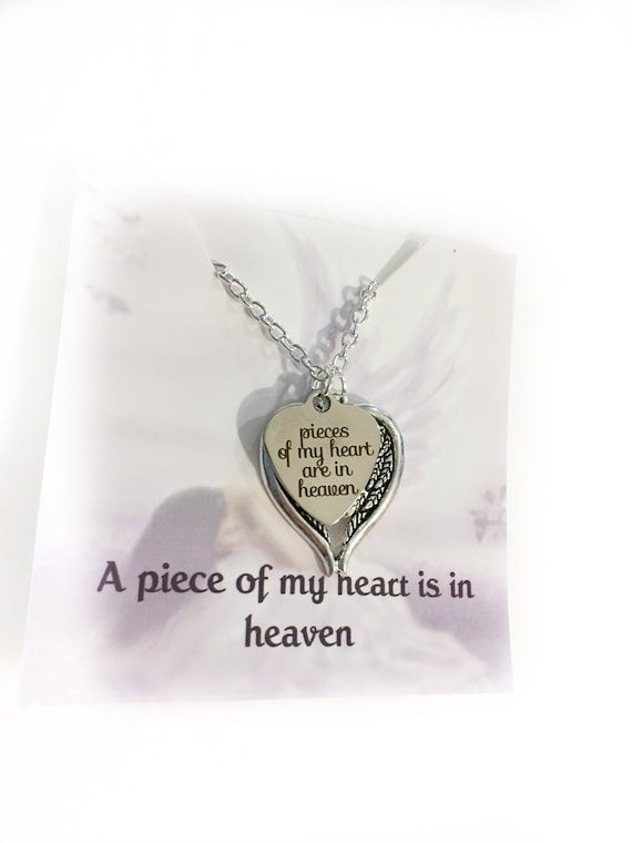 Memorial Jewelry Sympathy Gift Heart Necklace Memorial Gift Angel Wings Memorial Gifts In Loving Memory