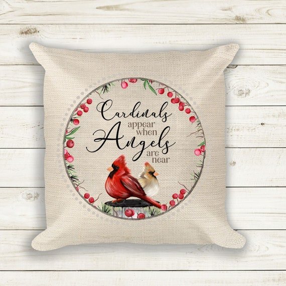 Cardinal Decor, In Loving Memory, Throw Pillow, Christmas Gift for Grandmother