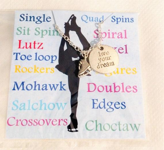 Figure Skating Ice skating necklace Ice skate necklace figure skater