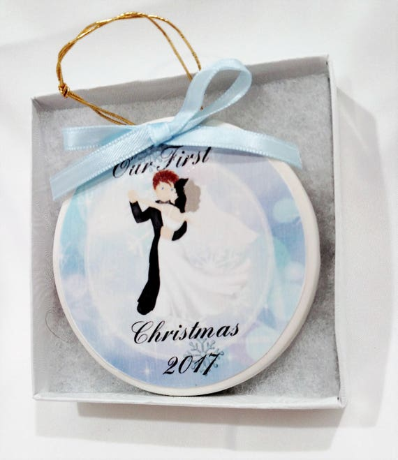 Our First Christmas Ornament - Couple's First Christmas Ornament  - Personalized First Christmas Ornament- Great wedding gift!