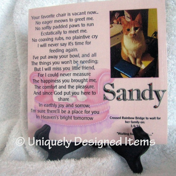 Pet memorial plaque - Cat memorial Plaque - Pet sympathy gifts, pet loss Plaque - Pet Memorial - Pet Memorial Tile