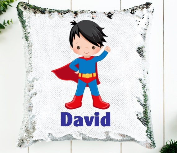 Superhero Gift, Sequin Pillow, Birthday, Personalized Gift for Boy