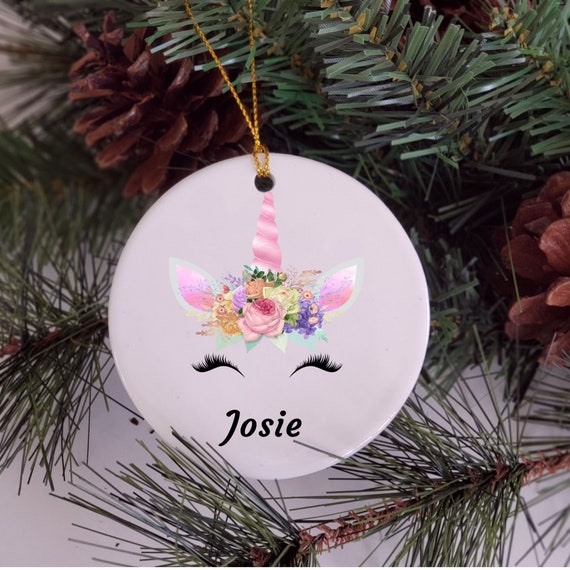 Unicorn Ornament, Personalized Ornament, Christmas, Gift for Niece