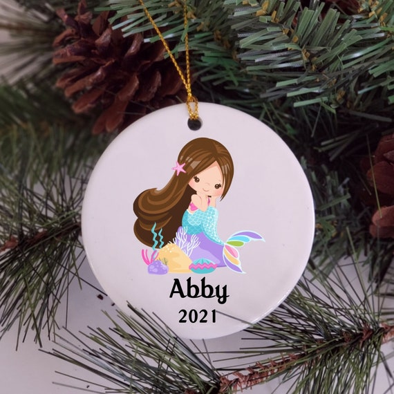 Mermaid Ornament, Personalized, Christmas, Granddaughter Gift