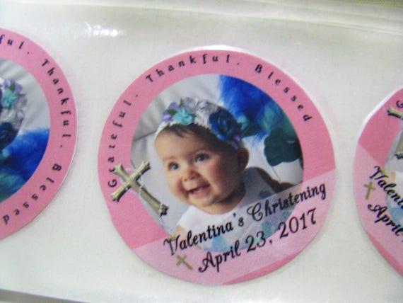 Christening - Favor Stickers - Favor Labels - Personalized Stickers - Baptism Favor - Wedding Stickers - Personalized - Wedding Favors