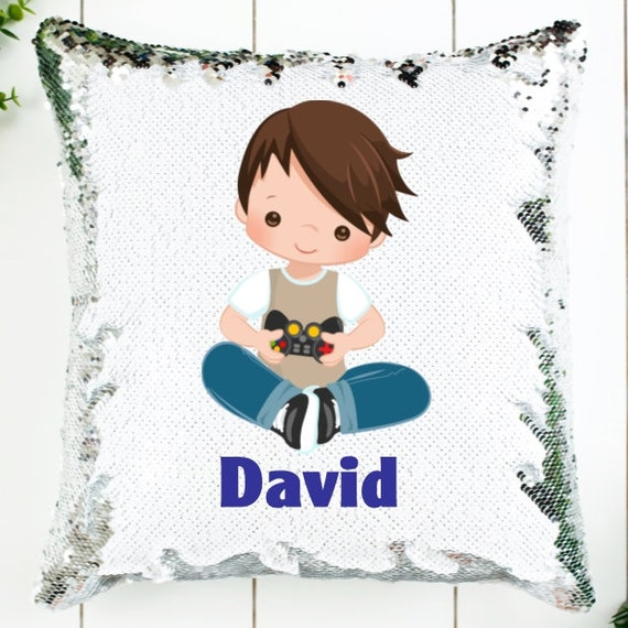 Personalized Video Game Decor for Boys, Sequin Pillow Cover, Birthday, Christmas, Gifts for Boys