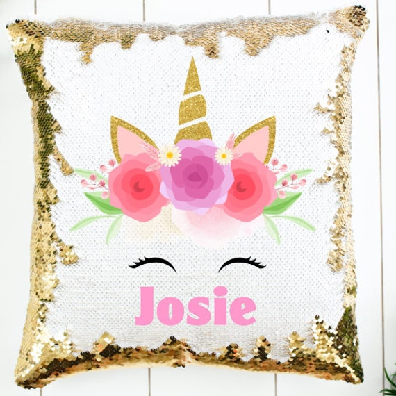 Unicorn Pillow, Sequin Pillow, Birthday, Niece Gift