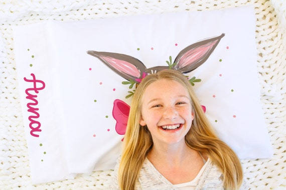 Easter Basket Stuffers, Personalized Gift, Pillow Case, Bunny, Gift for Kids
