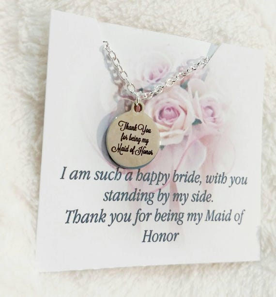 Maid of honor gift- thank you gift- maid of honor necklace-bridal party necklace-wedding gift-bridesmaid-bridal party gifts-bridesmaid gift